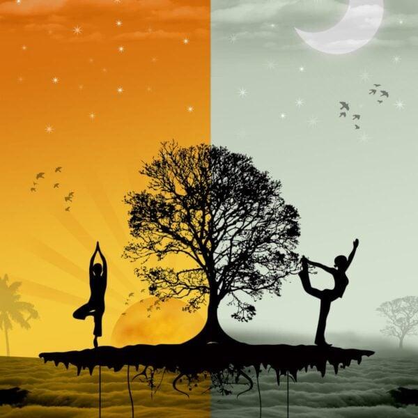 sun, moon, morning, evening, yoga, sunrise